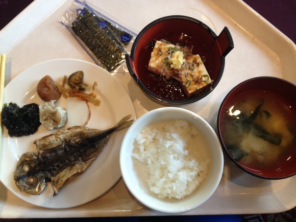 A bowl of rice with a piece of fried fish, some pickles (btw, the Japanese LOVE their pickled vegetables), steamed tofu topped with fresh ginger and scallions and a bowl of miso soup.