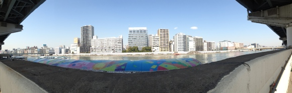 Panoramic view of the Sumida River