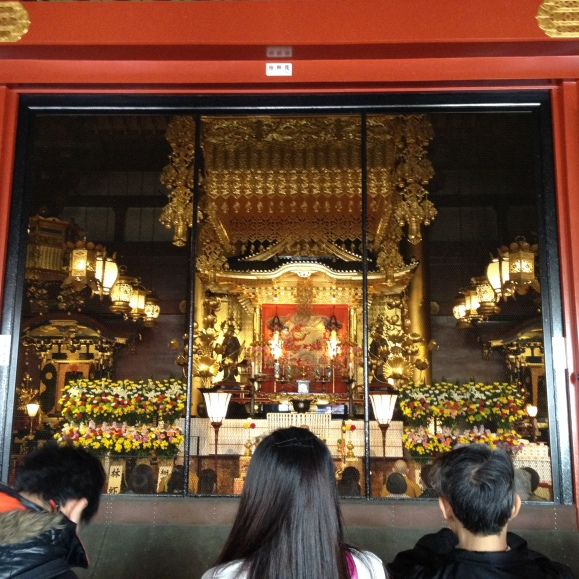 Inside the Asakusa Temple where the main shrine is located.