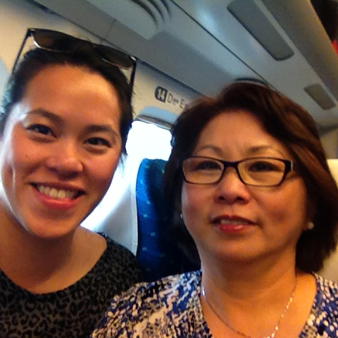 Here we are riding the shinkansen!