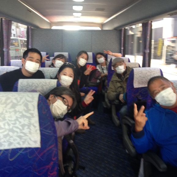 Our tour group in face masks - a common sighting in all of Japan and in most of Asia. Talk about immersing in the lifestyle ;)