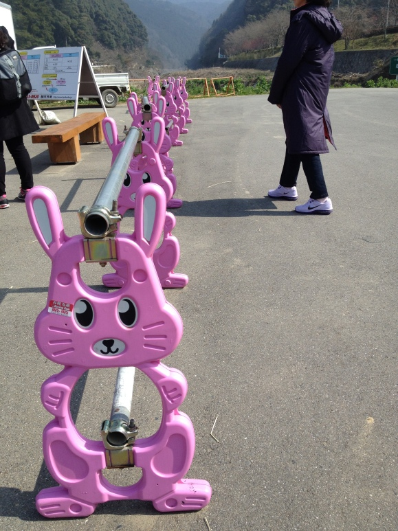 These are the barricades that Japan uses. They typically use cones but occasionally you'll see these in parking lots and construction sites. Leave it to the Japanese to make everything so dang cute. There are giraffe versions of this sort of barricade, as well.