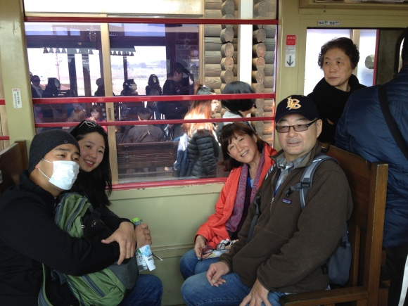 Kristie, Scott, Patti and Michael n the train car.
