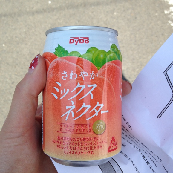 Got this peach flavored drink from a street vending machine. It was so good! I love seeing what different drinks are offered at all the different vending machines in each city.