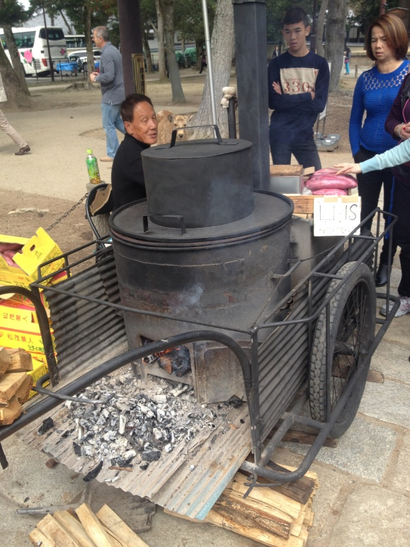 Man roasting sweet potato along Nara park. These things were so delicious!