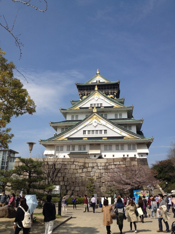 View of the Osaka Castle. Looks like something that Miyazaki would've used in his animated films.
