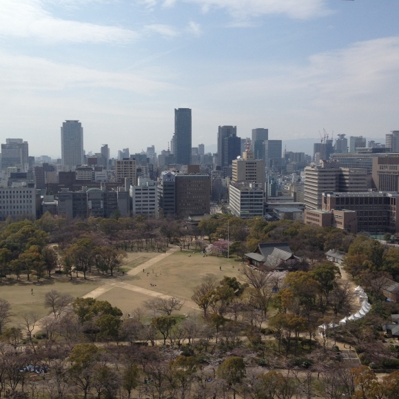View from the 8th floor of the Osaka Castle. That place was so crowded and climbing the steps was rough. I will personally go and find an air conditioning contractor for them to work with.