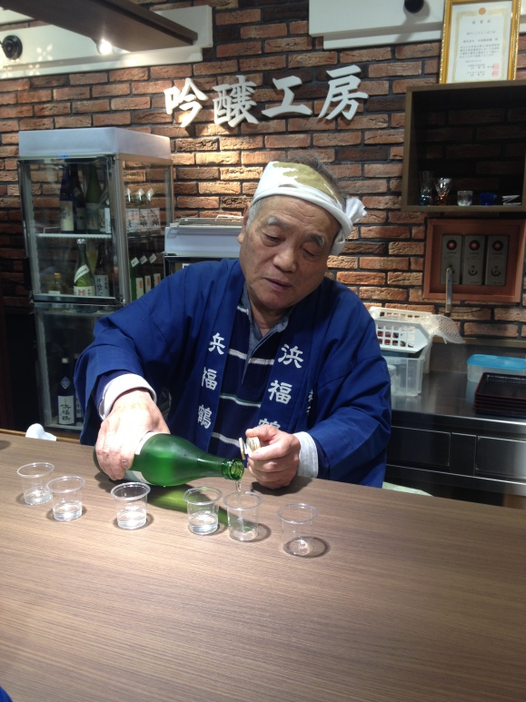 Tasting the premium sake, or Ginjo, which is when at least the outer 40% of the rice grain has been milled away. For Daiginjo (super premium sake) at least the outer 50% of the rice kernel must be milled away.