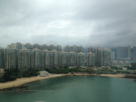 On our way from HKG airport on Lantau Island towards Kowloon. Hong Kong is comprised of four main areas: Launtau Island, The New Territories, Kowloon and Hong Kong Island. There's also Lamma Island, but it was too rainy for us to enjoy during our time in Hong Kong.