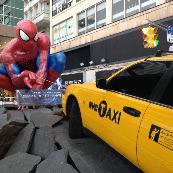 ...And we found Spiderman's latest movie promotion right by Harbour City, too. But, let's be real, that NYC taxi, should really be an Uber.