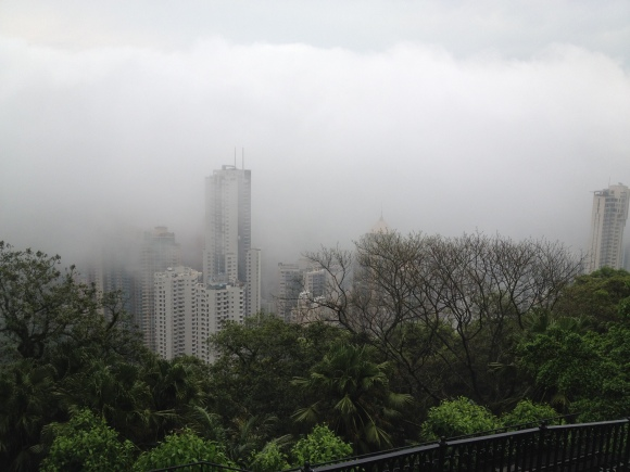 On a clear day, you'd be able to see an amazing panoramic view of HK, but this was all we saw that morning.