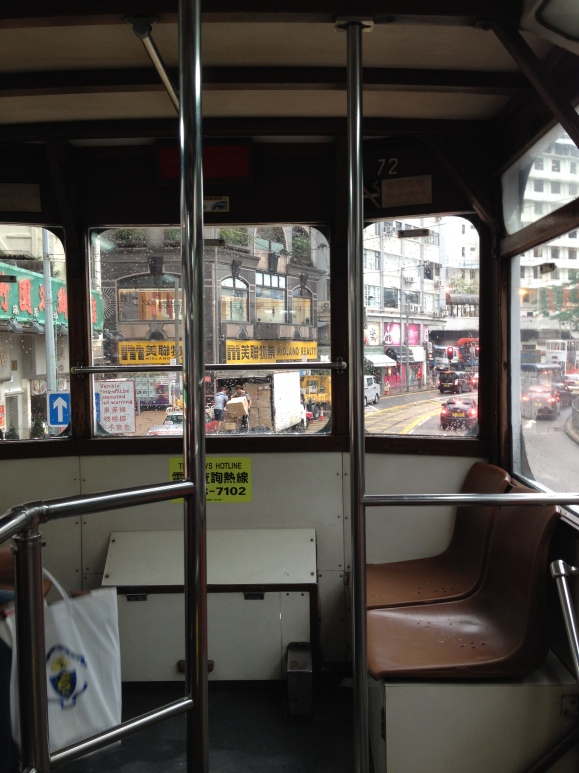 View from inside the tram from the upper level of the double-decker