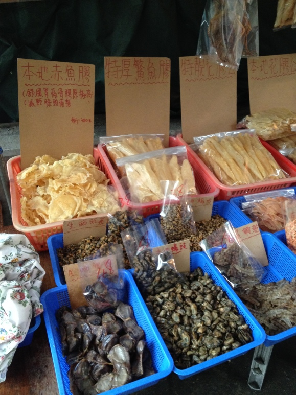 Street side vendors selling all sorts of dried seafood