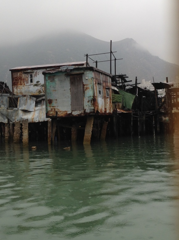 Stilt houses that seem to be barely standing