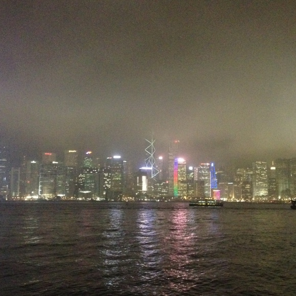 If only I had a fancier camera than my iPhone 4s native camera. And if only it was a clear night. The Hong Kong Island skyline would've been spectacular!