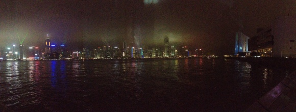 Panoramic of the light show from the Kowloon Peninsula